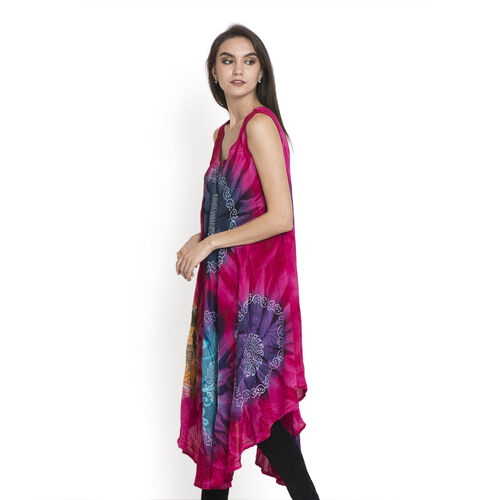 Midi Length Floral and Leaves Pattern Pink, Yellow and Blue Colour Dress (Free Size)