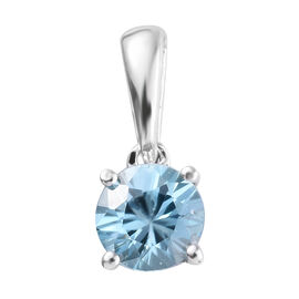 9K White Gold AA Blue Zircon (Rnd) Solitaire Pendant 0.550 Ct.