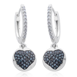 Blue Diamond (Rnd), White Diamond Heart Hoop Earrings (with Clasp) in Platinum Overlay Sterling Silver 0.330 Ct.