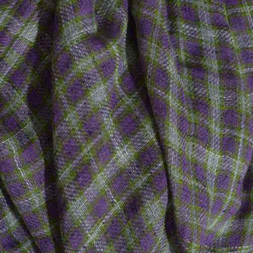 Italian Designer Inspired Purple, Grey and Green Colour Checks Pattern Scarf (Size 190x150 Cm) 5% CASHMERE WOOL, 65% MICRO MODAL & 30% MERCERIZED COTTON