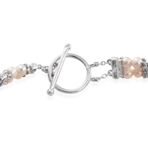 Alexandria Quartz (Ovl), Fresh Water Pearl Bracelet (Size 7.5) in Platinum Overlay Sterling Silver 58.500 Ct.