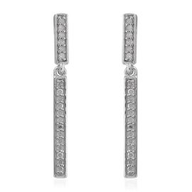 0.22 Ct Diamond Silver Single Strand Earrings (with Push Back) in Platinum Overlay