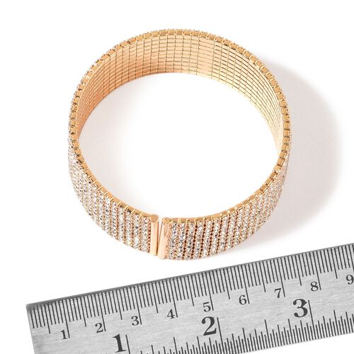 AAA White Austrian Crystal Bangle in Yellow Gold Tone