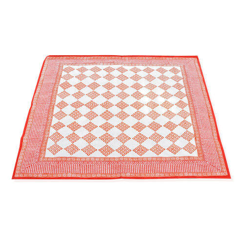 100% Cotton Orange and White Colour Hand Block Printed Table Cover (Size 150x150 Cm)