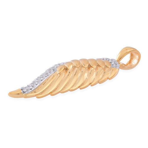 ELANZA AAA Simulated White Diamond (Rnd) Feather Pendant in 14K Gold Overlay Sterling Silver