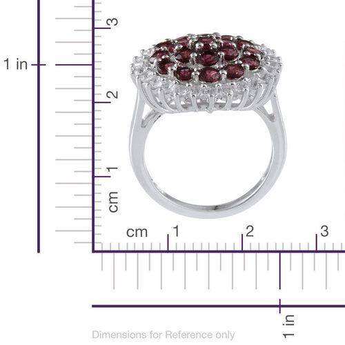 Orissa Rhodolite Garnet (Rnd), White Topaz Ring in Platinum Overlay Sterling Silver 3.750 Ct.