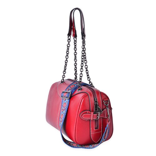 100% Genuine Leather Red Colour Bag with Chain Handles and Colourful Removable Shoulder Strap (Size 26X21X15 Cm)