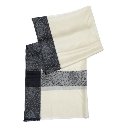 100% Cashmere Wool Black and White Colour Shawl (Size 200x70 Cm)