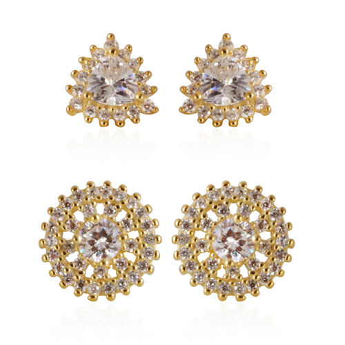 Set of 2 - ELANZA AAA Simulated Diamond (Trl) Stud Earrings (with Push Back) in 14K Gold Overlay Sterling Silver