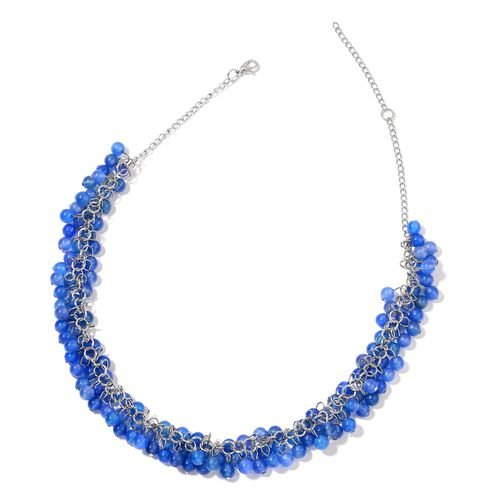 Blue Agate Necklace (Size 18 with 2 inch Extender) and Hook Earrings in Silver Tone 335.000 Ct.