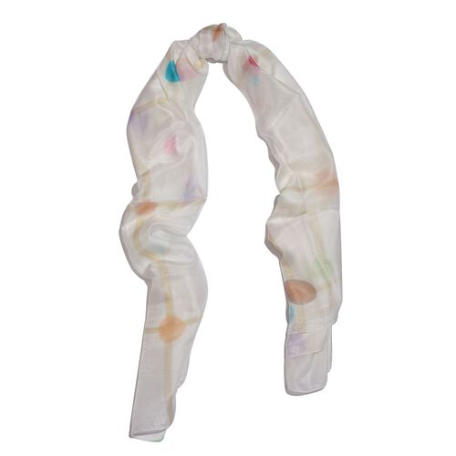 100% Mulberry Silk Green, White and Multi Colour Hand Screen Molecules Printed Scarf (Size 200X180 Cm)