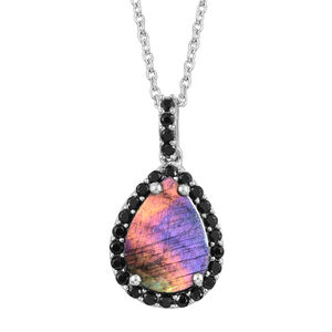 Spectrolite (Pear 3.00 Ct), Boi Ploi Black Spinel Pendant with Chain in Platinum Overlay Sterling Silver 3.750 Ct.