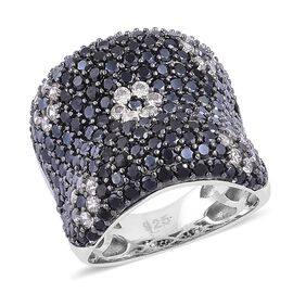 Boi Ploi Black Spinel and White Zircon Floral Pattern Ring in Black Rhodium Plated Sterling Silver 6.450 Ct.
