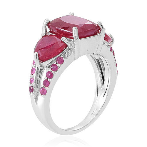 African Ruby (Cush 4.50 Ct), Burmese Ruby Ring in Rhodium Plated Sterling Silver 8.000 Ct.