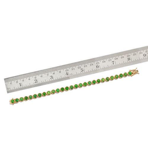 Green Ethiopian Opal (Rnd) Bracelet (Size 7.5) in 14K Gold Overlay Sterling Silver 7.000 Ct.