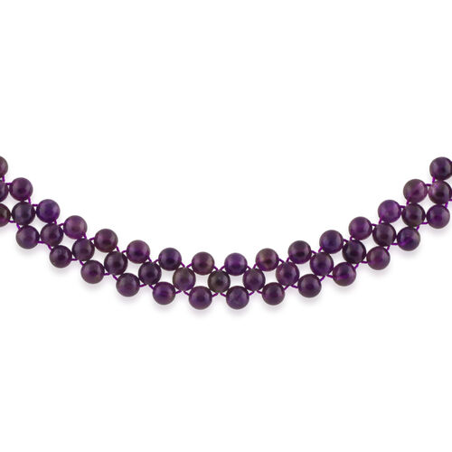 Amethyst Adjustable Beads Necklace (Size 14 to 16) in Rhodium Plated Sterling Silver 161.700 Ct.