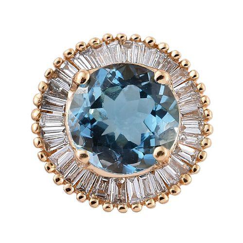 ILIANA 18K Y Gold AAA Santa Maria Aquamarine (Rnd 0.80 Ct), Diamond (SI/G-H) Pendant 1.000 Ct.