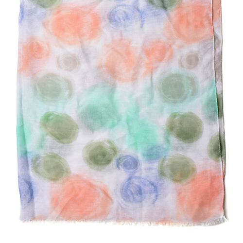 Dark Blue and Green and Light Orange and Green Colour Vortex Pattern White Colour Scarf (Size 180x90 Cm)