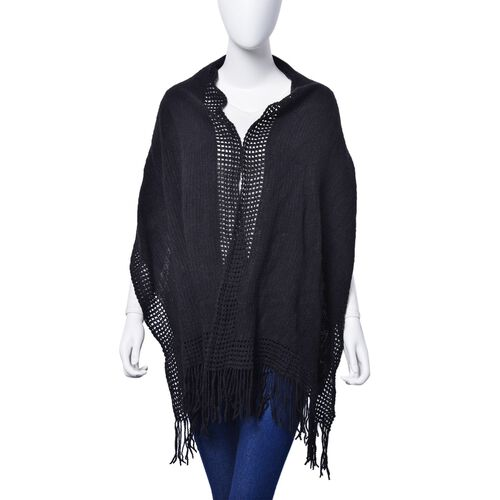 Black Colour Checks and Hollowed Out Pattern Scarf with Tassels (Size 160x50 Cm)