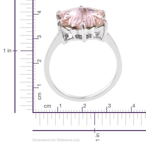 LIMITED EDITION STELLARIS CUT J Francis Crystal from Swarovski - Morganite Colour Crystal Solitaire Ring in Platinum Overlay Sterling Silver