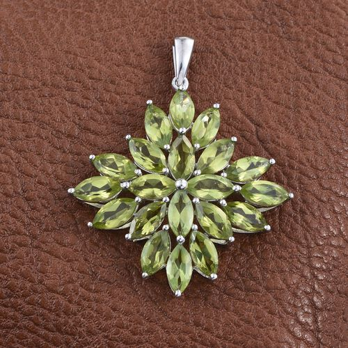 AA Hebei Peridot (Mrq) Cluster Pendant in Platinum Overlay Sterling Silver 10.000 Ct.