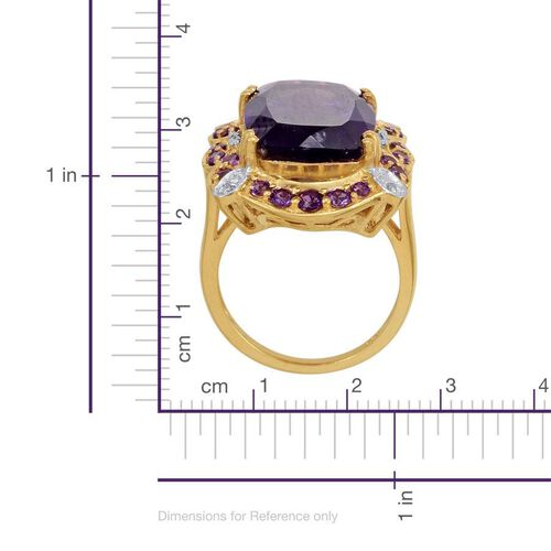 Zambian Amethyst (Cush 11.00 Ct), Diamond Ring in 14K Gold Overlay Sterling Silver 12.020 Ct.
