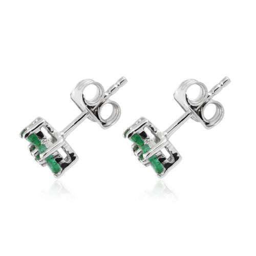 0.40 Ct Kagem Zambian Emerald Floral Stud Earrings  in Platinum Plated Silver (with Push Back)