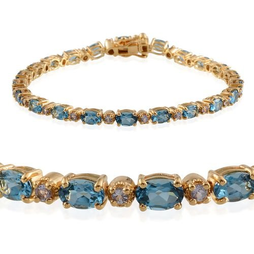 Electric Swiss Blue Topaz (Ovl), Tanzanite Bracelet in 14K Gold Overlay Sterling Silver (Size 8) 11.750 Ct.