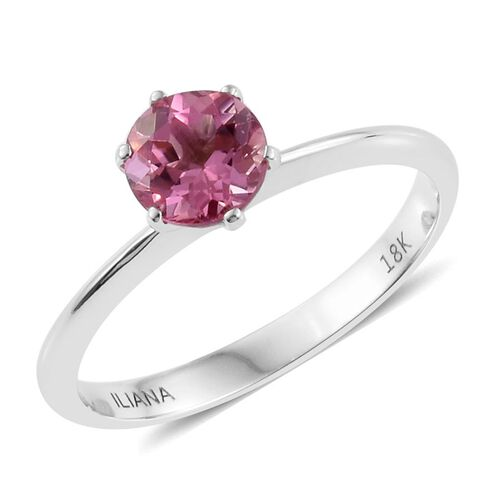 ILIANA 18K White Gold 0.75 Carat Pink Tourmaline Solitaire Ring