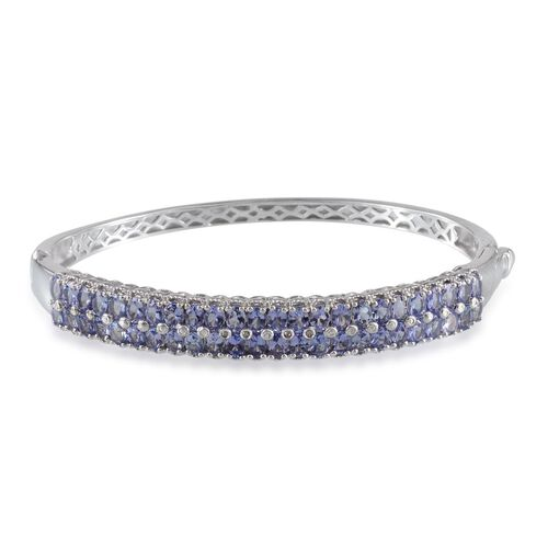 Tanzanite (Ovl), Diamond Bangle (Size 7.5) in Platinum Overlay Sterling Silver 7.270 Ct.