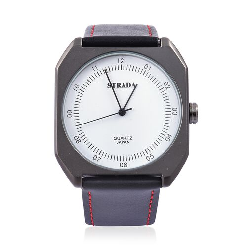 STRADA Japanese Movement White Dial Water Resistant Watch in Black Tone with Stainless Steel Back and Red Colour Stitched Black Strap