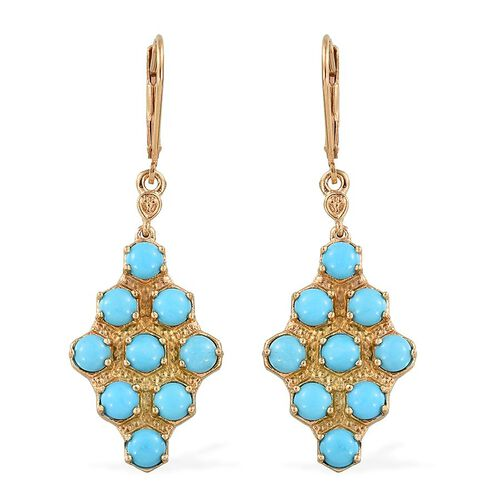 Arizona Sleeping Beauty Turquoise (Rnd) Lever Back Earrings in 14K Gold Overlay Sterling Silver 4.000 Ct.
