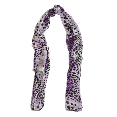 100% Mulberry Silk Leopard Printed Hyacinth Purple, Black and Voilet Colour Scarf (Size 180x100 Cm)