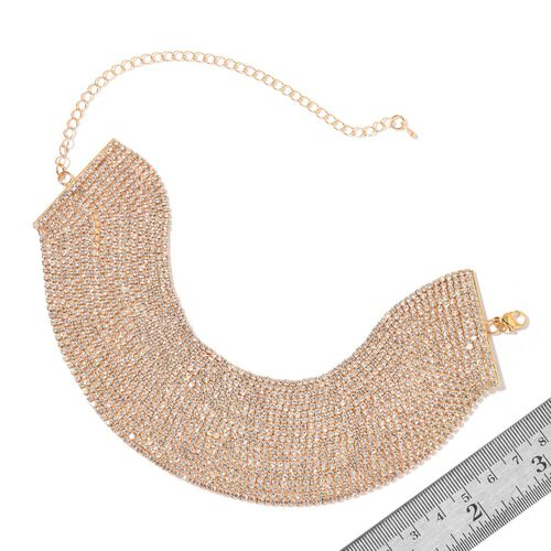White Austrian Crystal Choker Necklace (Size 20 with Extender) in Yellow Gold Tone
