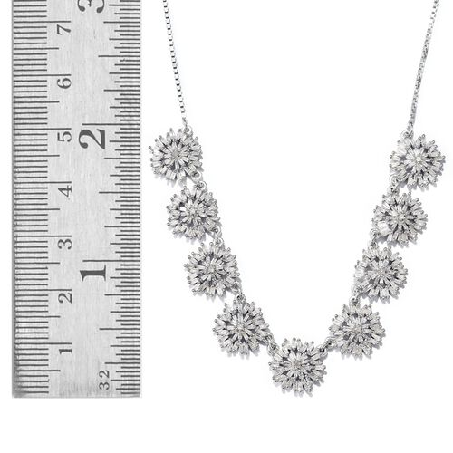 Designer Inspired - Firecracker Diamond (Rnd) Adjustable Necklace (Size 18) in Platinum Overlay Sterling Silver 2.000 Ct. Number of Diamonds 333 Silver wt 9.50 Gms.