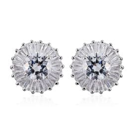 J Francis - 9K White Gold Stud Earrings Made with SWAROVSKI ZIRCONIA  (with Push Back)