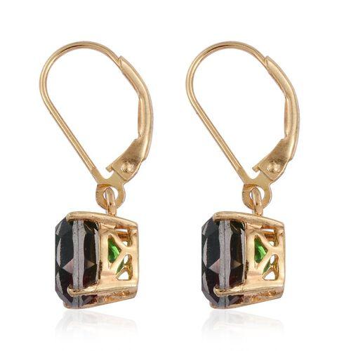 Bi-Color Tourmaline Quartz (Ovl) Lever Back Earrings in 14K Gold Overlay Sterling Silver 4.750 Ct.