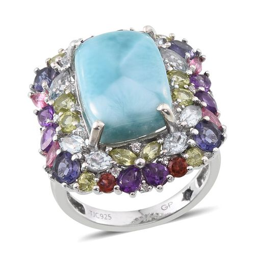 Larimar (Cush 11.00 Ct), Amethyst, Iolite, Sky Blue Topaz, Hebei Peridot, Mozambique Garnet, Mahenge Pink Spinel and Multi Gemstone Ring in Platinum Overlay Sterling Silver 16.630 Ct.