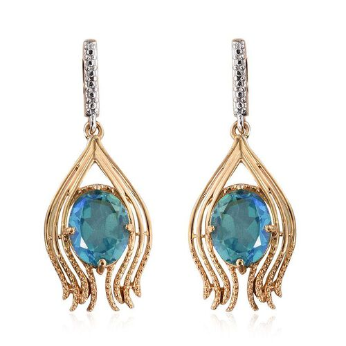 Peacock Quartz (Ovl) Earrings (with Push Back) in 14K Gold Overlay Sterling Silver 5.750 Ct.