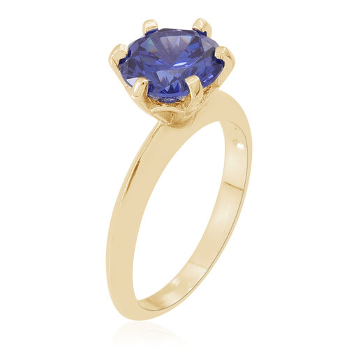 ELANZA AAA Simulated Tanzanite (Rnd) Solitaire Ring in 14K Gold Overlay Sterling Silver, Silver wt 3.40 Gms.