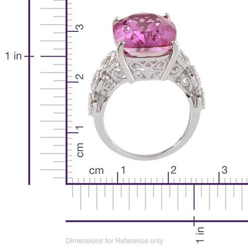 Kunzite Colour Quartz (Cush), Diamond Ring in Platinum Overlay Sterling Silver 14.020 Ct.