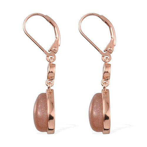 Morogoro Peach Sunstone (Pear), Rhodolite Garnet Lever Back Earrings in Rose Gold Overlay Sterling Silver 7.250 Ct.