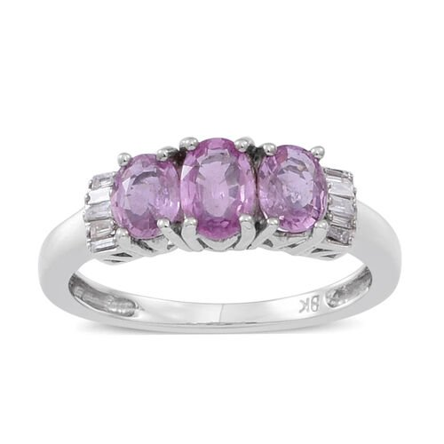 9K W Gold AAA Pink Sapphire (Ovl 0.50 Ct), Diamond Ring 1.250 Ct.