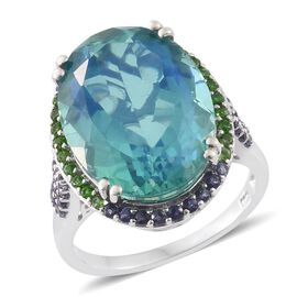 Peacock Quartz (Ovl 16.00 Ct), Russian Diopside, Amethyst and Iolite Ring in Platinum Overlay Sterling Silver 16.520 Ct.
