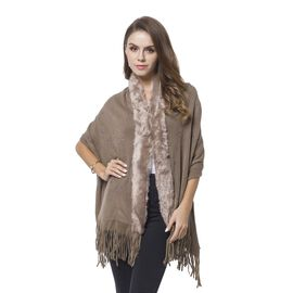 Designer Inspired-Chocolate Colour Fur Wrap with Tassels (Size 176X55 Cm)
