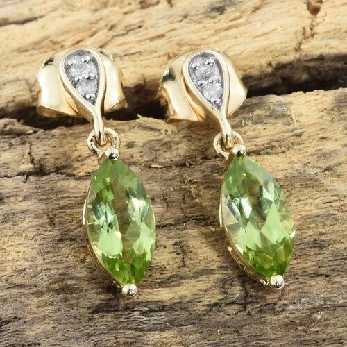 9K Yellow Gold AA Hebei Peridot (Mrq), Diamond Earrings (with Push Back) 1.650 Ct.