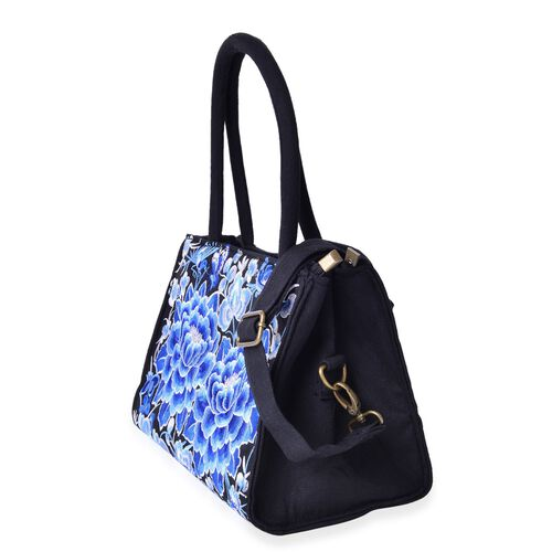 Shanghai Collection Blue and White Colour Floral Pattern Black Colour Tote Bag with Adjustable and Removable Shoulder Strap (Size 32x24x16 Cm)
