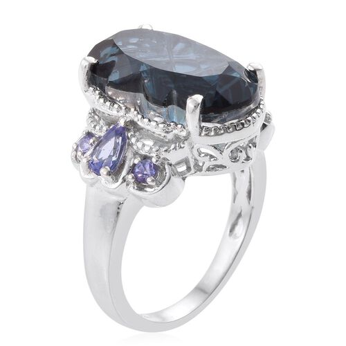 Indicolite Quartz and Tanzanite Ring in Platinum Overlay Sterling Silver 9.750 Ct.