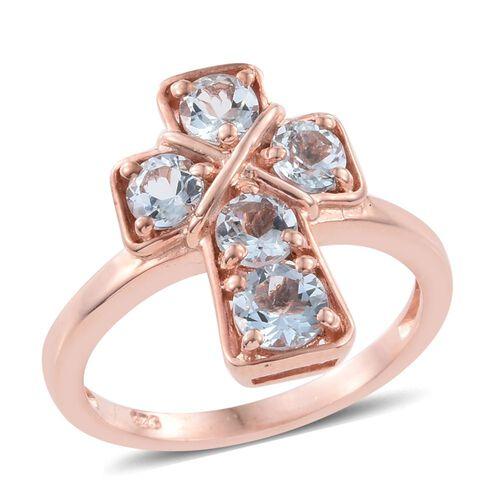 Espirito Santo Aquamarine 1.25 ct. Silver Stacking Cross Ring Gold Overlay