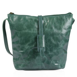 100% Genuine Leather RFID Blocker Olive Green Colour Crossbody Handbag (Size 29X24X4 Cm)